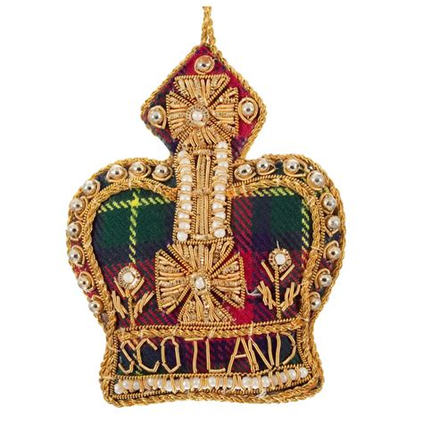 tartan scotland crown christmas tree decoration
