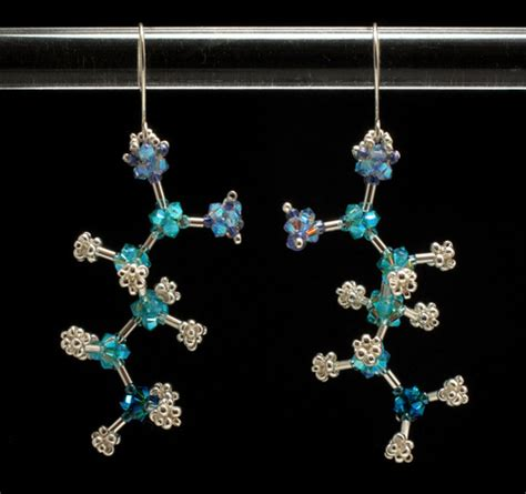 Chemistry Origami - bead origami brain chemistry earrings