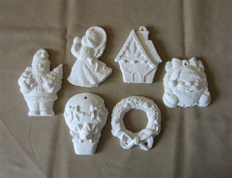 paintable plaster christmas ornament collection