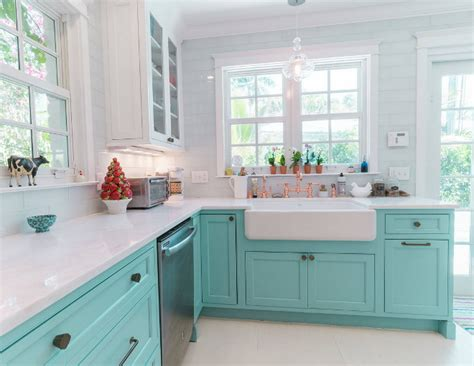 custom kitchen with turquoise cabinets home bunch