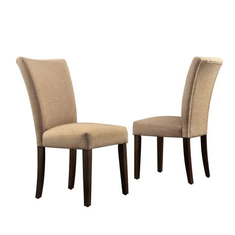 Home Depot Dining Chairs Homesullivan Whitmire Camel Linen Parsons Dining Chair Set Of 2 40721lbls2pc The Home Depot