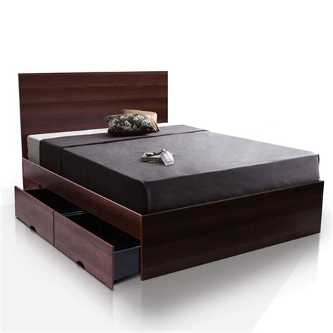size bed modern size bed frame w 4 storage drawers buy