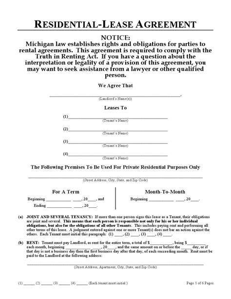 Printable Rental Agreement Michigan | download free michigan residential lease agreement