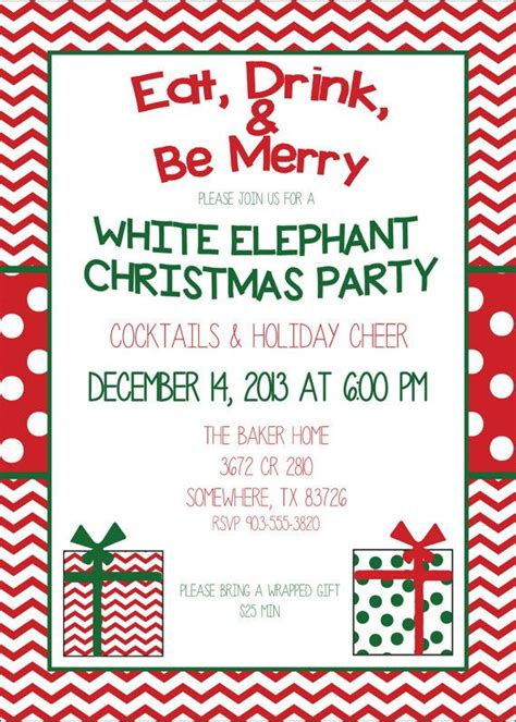 sle wording for ornament exchanges white elephant invitation cimvitation