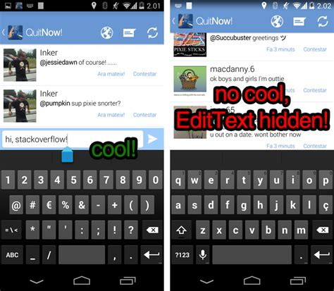 keyboard hiding edittext when android windowtranslucentstatus true - Android Hide Keyboard