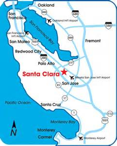 where is santa california on map map of santa clara california california map