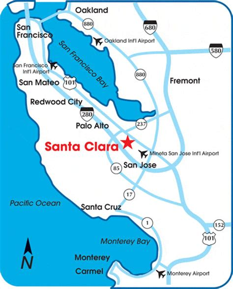 santa clara map parking directions santa clara convention center