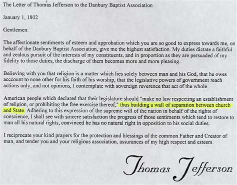 Explanation Of Jefferson S Letter To The Danbury Baptists Lesson 2