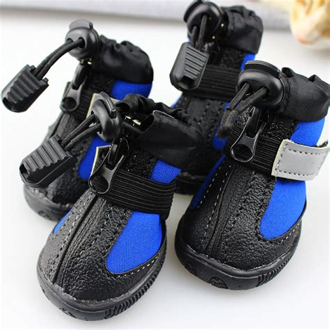 shoes for dogs blue black reflective puppy small dogs shoes waterproof pet shoes non slip boots
