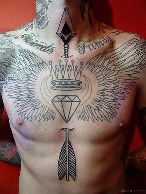 tattoo diamond crown 81 alluring wings tattoo on chest