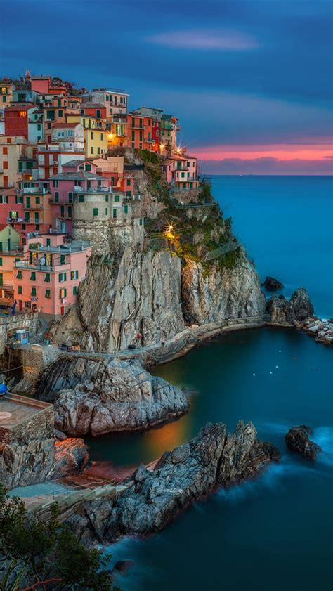 wallpaper for iphone 6 italy manarola italy evening sunset houses coast rocks