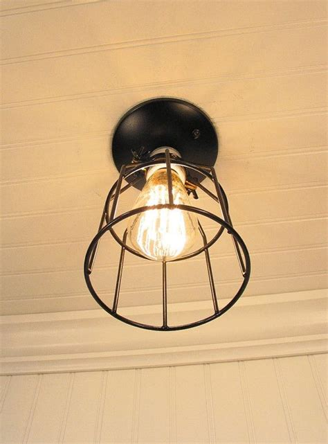 auburn port industrial cage ceiling light with edison bulb