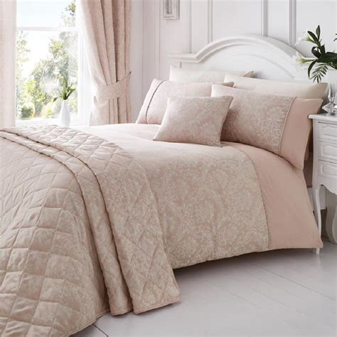 Bed Cover Set Tommony Elegance floral jacquard cotton rich pink quilt duvet