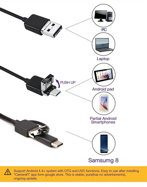 Magnet Kulkas Flexibel 2cm X 1 5m blcr 3 in 1 8mm 6 led waterproof usb type c android pc endoscope 2m free shipping dealextreme