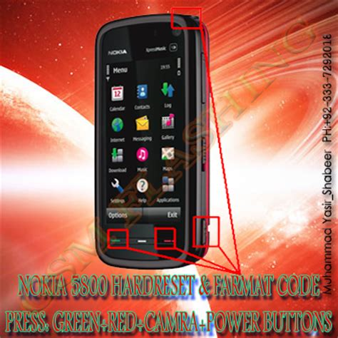 nokia mobile software reset code nokia 5800 and same outher phone hard reset farmat code