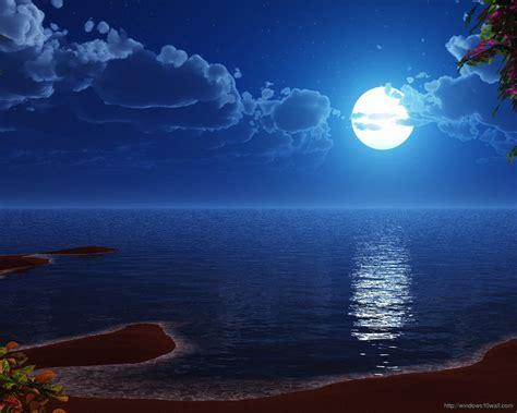 wallpaper bulan bintang hd blue moon on beach hd wallpaper windows 10 wallpapers