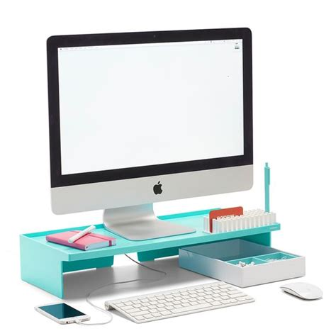 aqua blue desk accessories poppin aqua monitor riser modern desk accessories cool