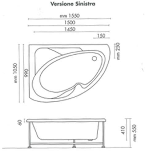 vasca ad angolo misure vasca da bagno non idromassaggio ad angolo 150x100 cm