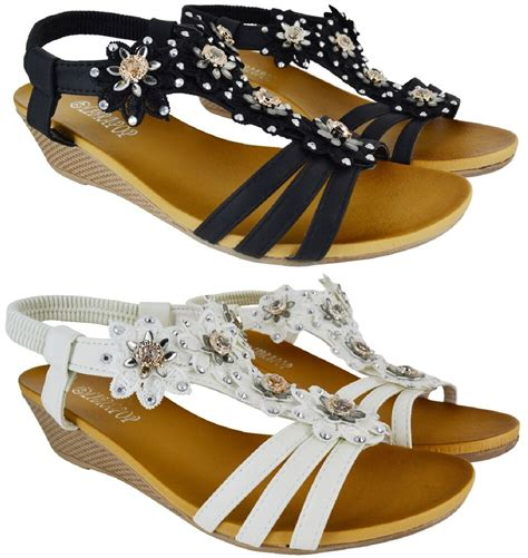 womens big sizes summer low heel wedge flower sandals shoes size 8 11 new ebay