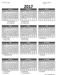 Business Day Calendar 2017 Business Calendar Templates Free Business