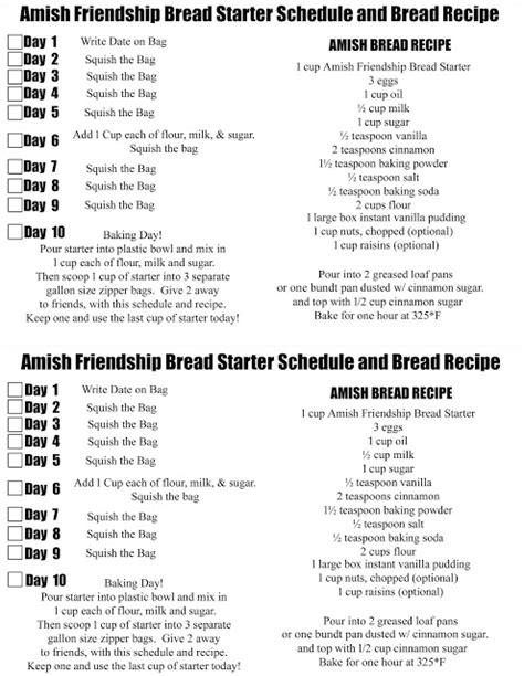 printable directions for amish friendship bread doodlecraft amish friendship bread starter and recipe