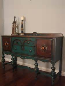 Green Buffet Table European Paint Finishes Peacock Green Sideboard