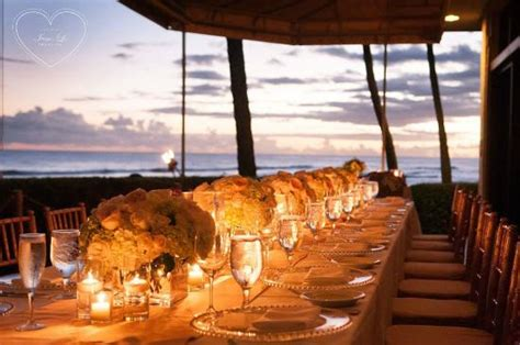 A Beautiful Table Setting Overlooking The Ocean For Dinner House Restaurant In Kauai