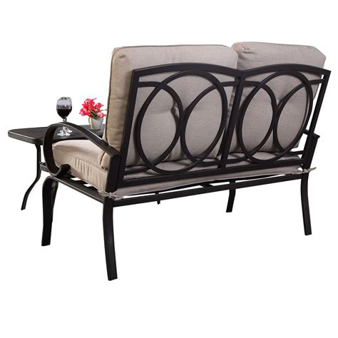 outdoor loveseat bench 2 pcs patio outdoor loveseat coffee table set furniture