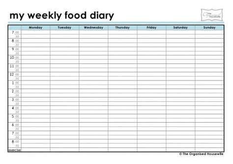 sle food diary template free printable weekly food diary a well assessment