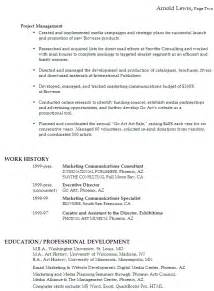 functional resume sle marketing communications management