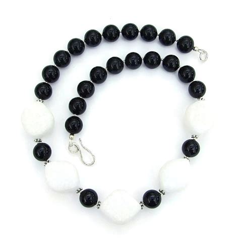 White Quartzite and Black Jade Necklace, Chunky Handmade