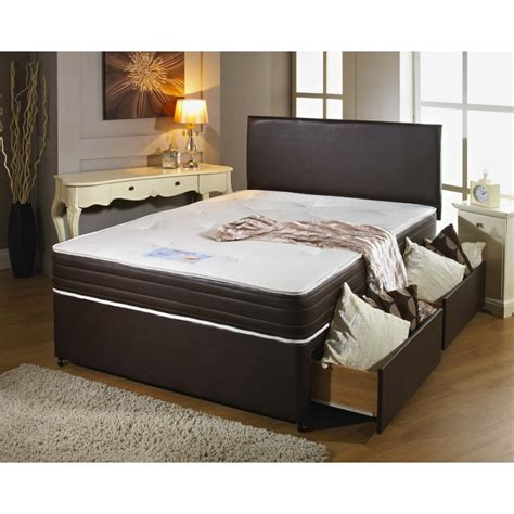 Bed Sets With Mattress Leather Divan Bed Set With 2 Drawers Free Headboard