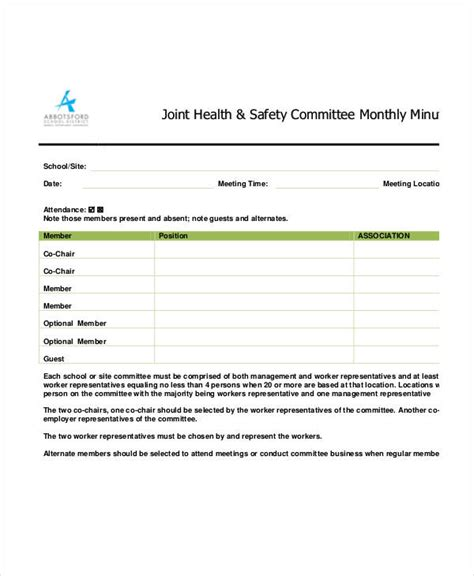 safety meeting minutes template 12 free sle exle