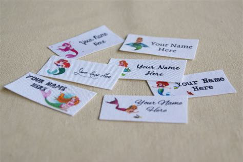 printable fabric name tags 42 mermaid fabric name label cotton labels printed