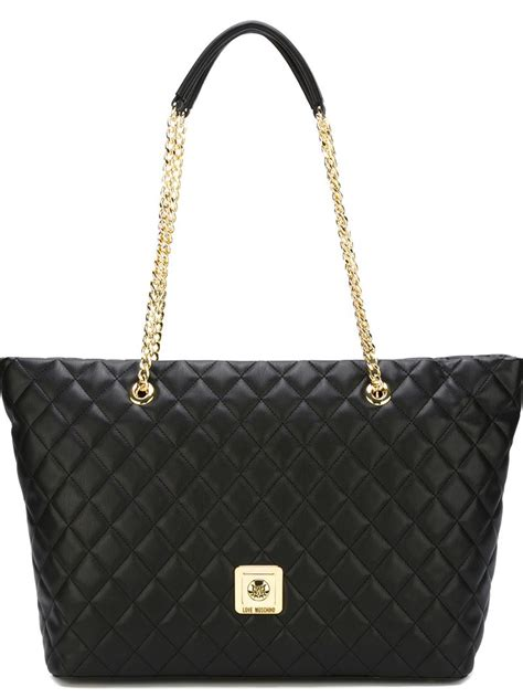 Moschino Patent Shopper Bag moschino quilted shopper tote in black lyst