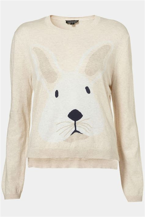 Sweater Rabbits topshop knitted bunny motif jumper uk 14