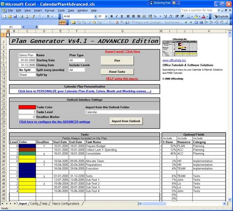 excel templates with macros officehelp macro 00002 calendar plan generator