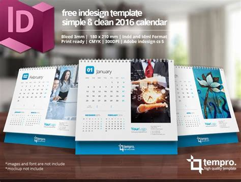 Calendar 2018 Indesign Free 2016 Calendar Design Templates Free Indesign