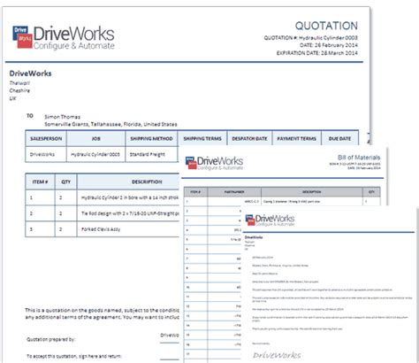 software quote template driveworks design automation for solidworks