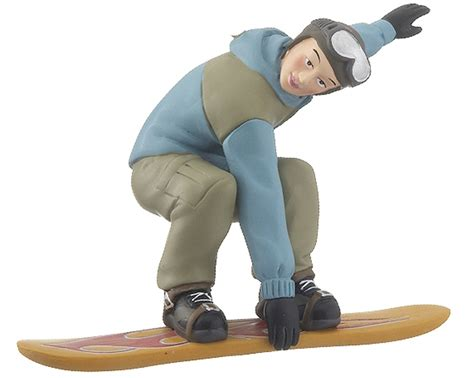 snowboarder boy blue jacket christmas ornament skiing