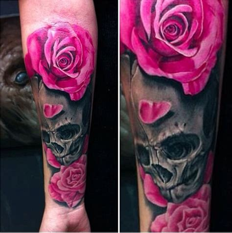 black and pink rose tattoo pink roses and skull tattooconnection