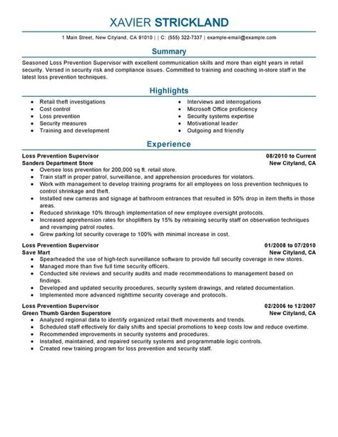 resume templates for a supervisor loss prevention supervisor resume sle my perfect resume
