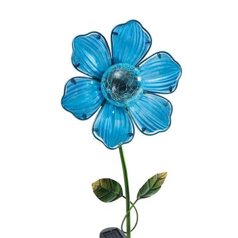 flower solar lights outdoor sunjoy blue flower led solar garden stake 110309028 the