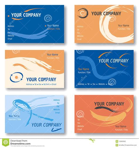 free orang and blue bussiness card templates set of 6 business cards in orange and blue vector