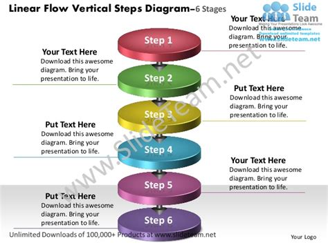 Linear Flow Vertical Steps Diagram 6 Stages Process Charts Exles P Flow Chart Template Powerpoint