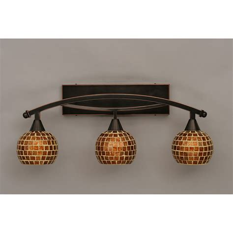 copper bathroom lighting toltec lighting bow black copper three light bath bar w 6 inch mosaic glass on sale