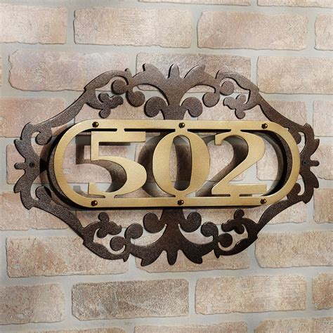 house number plate design classic iron plate house number ideas at brick wall decor popular home interior