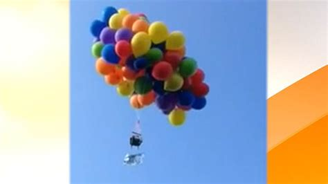 Lawn Chair Balloon by Lofts Into Air In Lawn Chair With 101 Helium Balloons