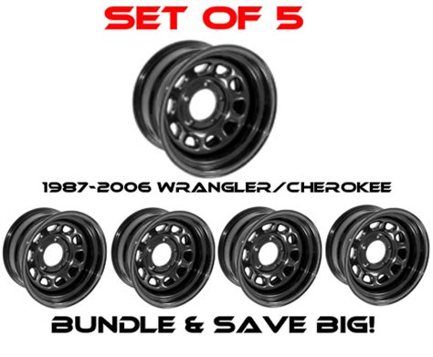 Jeep Wrangler Wheel Bolt Pattern Rugged Ridge Set Of 5 Black Steel Wheel D Window 15 Quot X 10