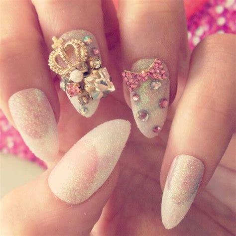 Nail Accesorries Style Nail Stickertape 1 3d stiletto nails rhinestones crown white gorgeous nails